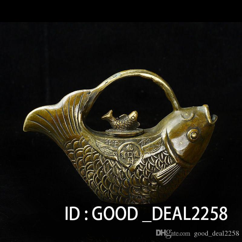 Collezione Folk Art Chinese HandWork Bronze Fish Teapot w Fish Lid