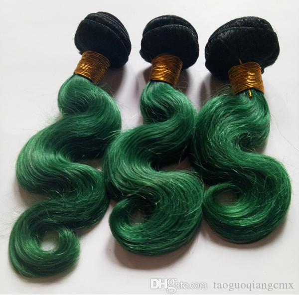 Unprocessed 8-28inch Virgin Brazilian hair 3bundles body wave ombre weave extension weft sexy 1B/green Two tone chinese human hair