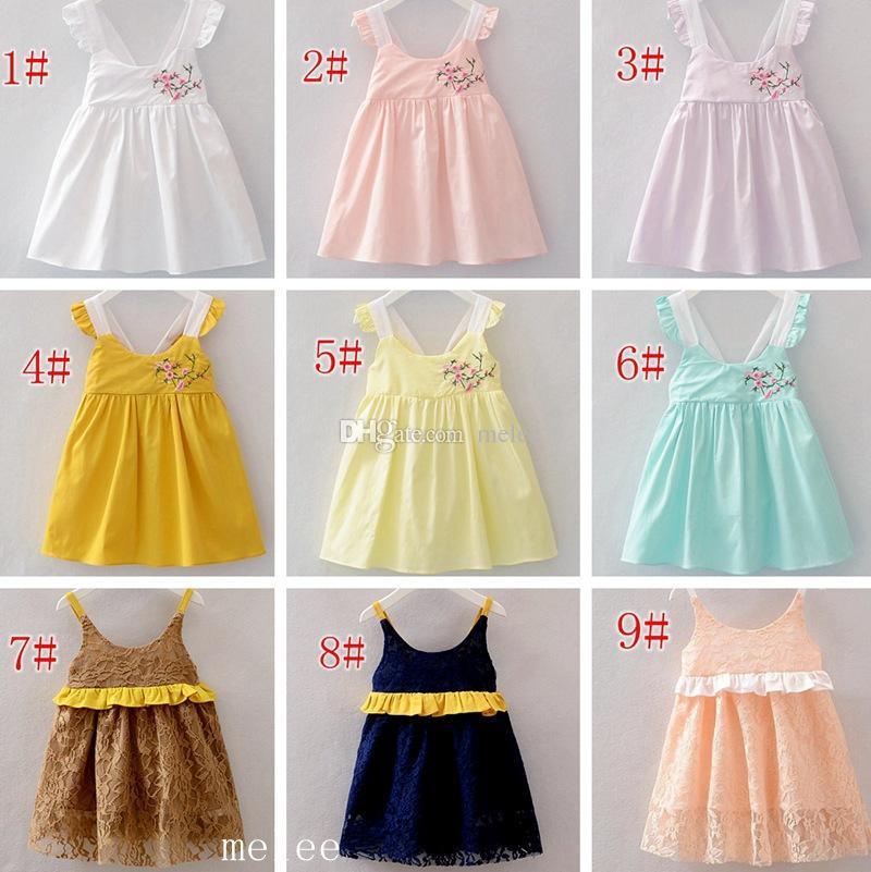 INS Mädchen-Baumwollspitze-Kleid-Kind-Kleidungs-Sommer-Stickerei-Spitze-Kleider arbeiten sleeveless Diamant-Prinzessin Dress 9Colors wählen freies Schiff um