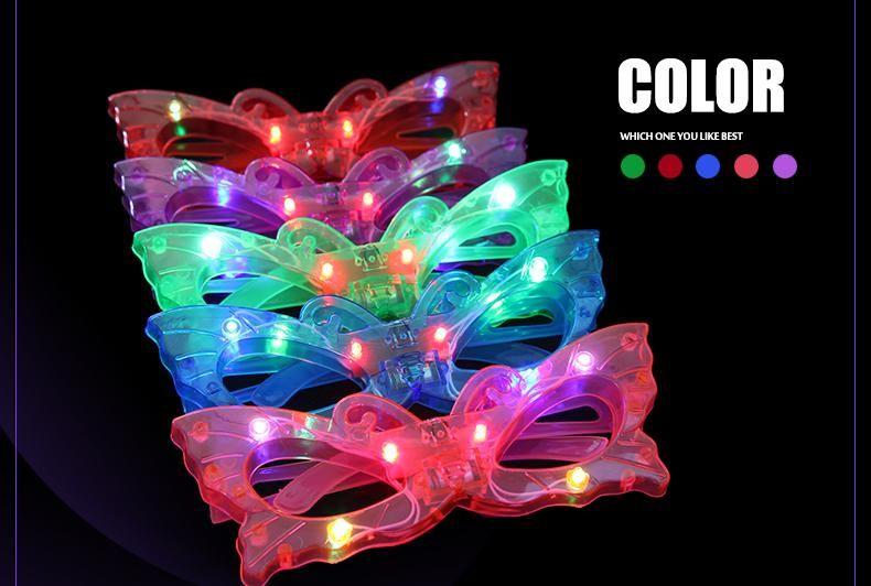 Os mais recentes olhos das crianças luz emitindo óculos fluorescentes borboleta luminosa olhos piscando olhos brilho brinquedos atacado