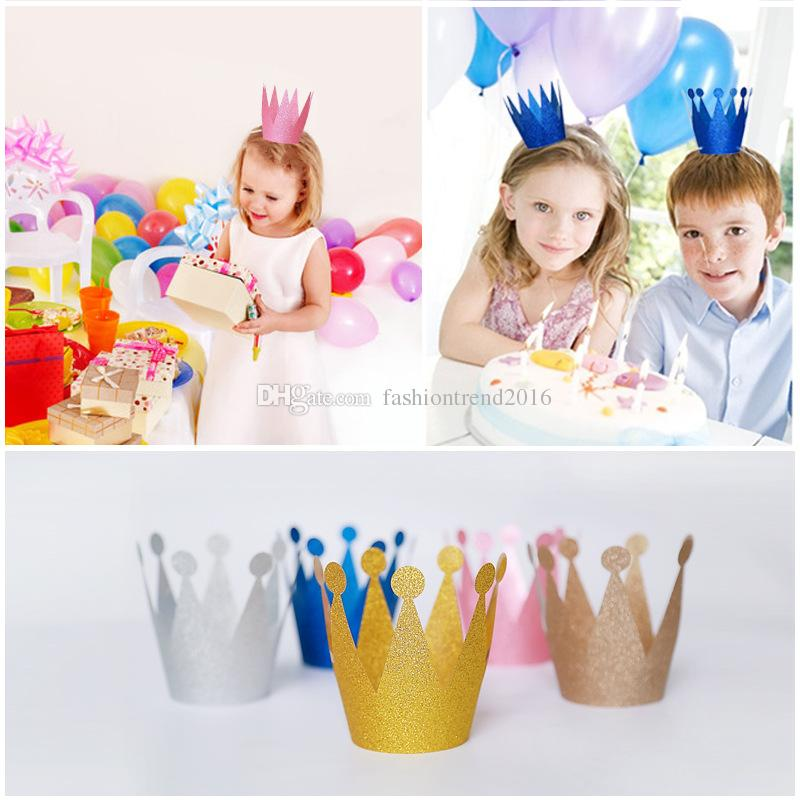 6Pcs/lot Glitter Little Prince Princess Plastic Crown Hats Birthday Party Baby Shower Kids Birthday Decorations Festive Supplies