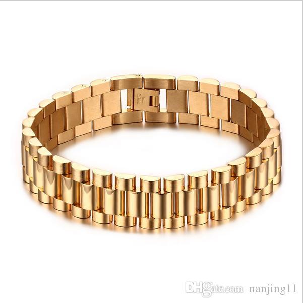 15mm Lüks Erkekler Watch Band Bilezik Altın Kaplama Paslanmaz Çelik Kayış Bağlantıları Manşet Bilezik Takı Hediye 22 cm BR-201