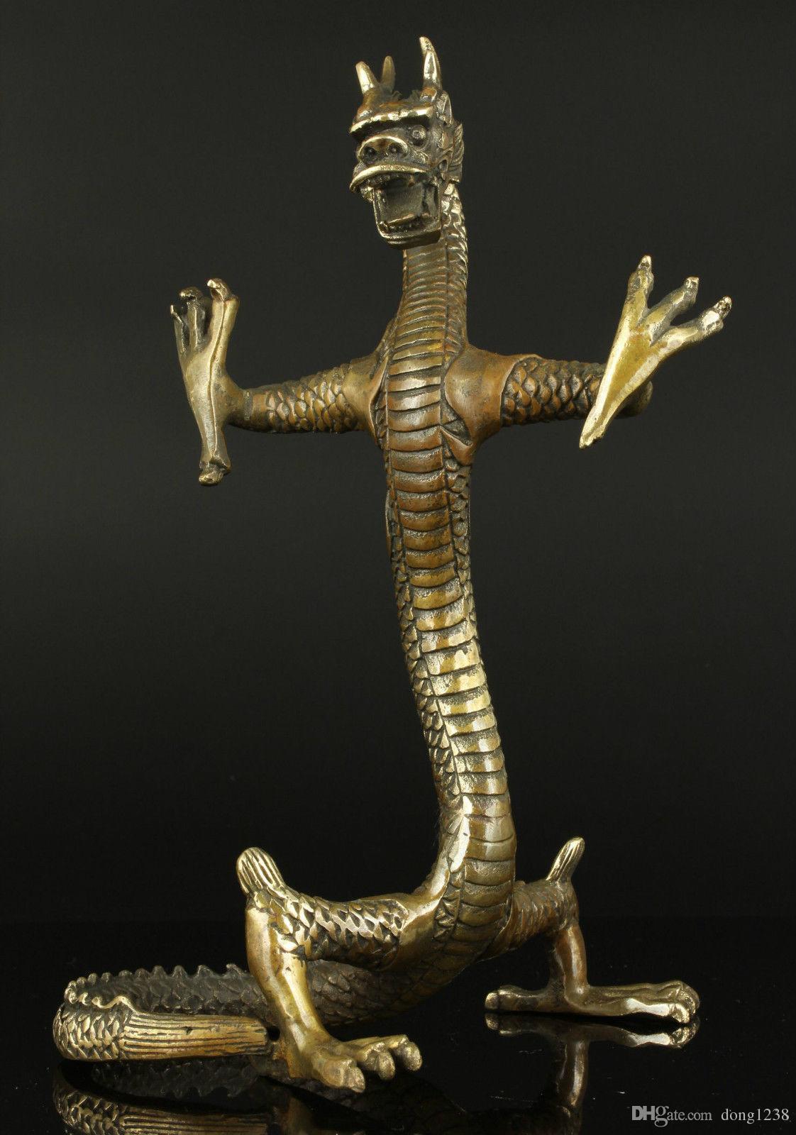 Koleksiyon Eski İşi Oyma Bronz Fierce Daimi Ejderha Heykeli