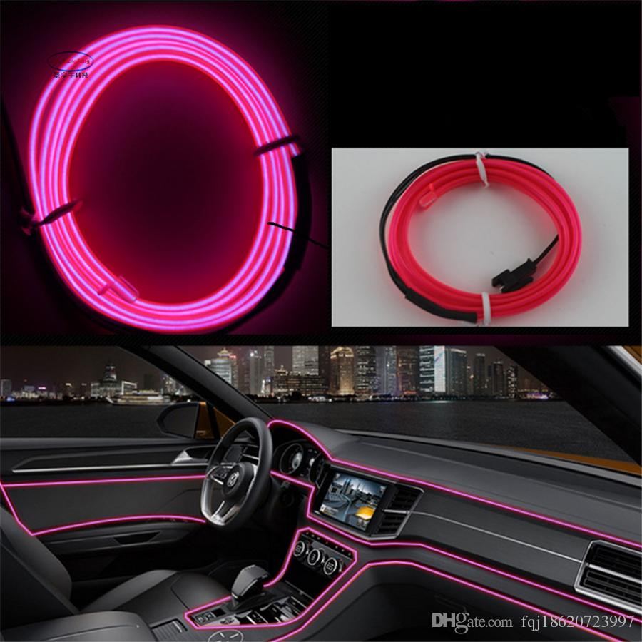 DIY Decoration 12V Auto Car Interior LED Neon Light EL Wire Rope Tube Line Party Weeding Decal 10 Colors 3 meter