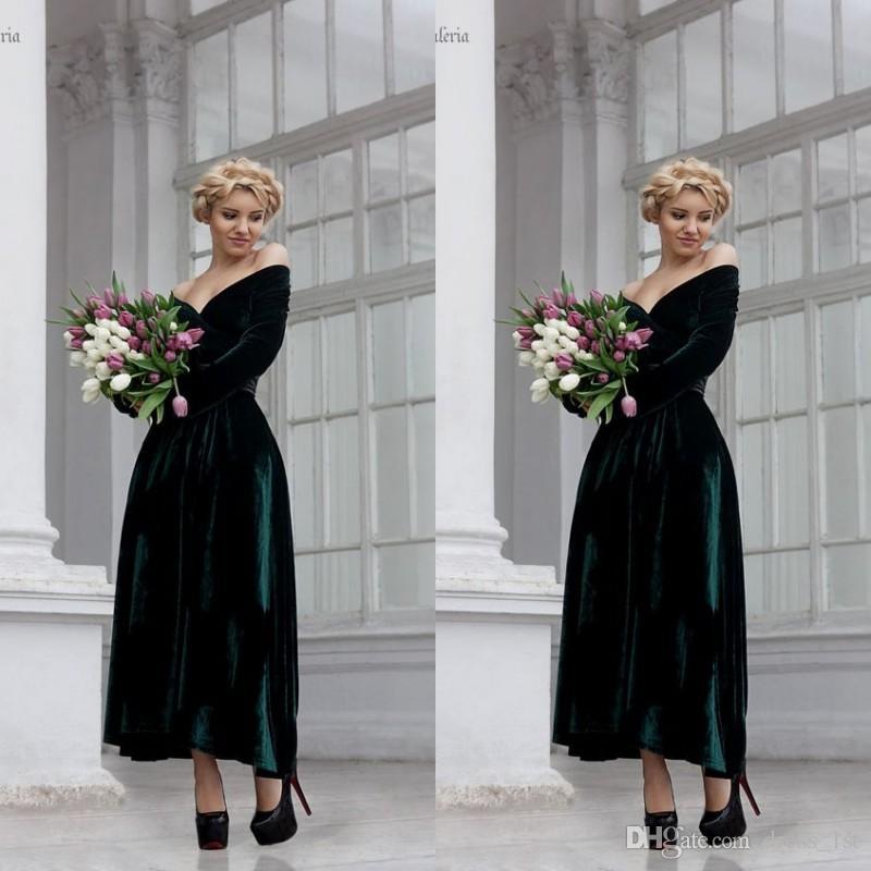 2019 Темно-зеленое бархатное вечернее платье с плеча длинные рукава линия длина лодыжки вечерняя одежда платья Prom Pretions Preads en11109