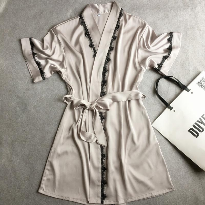 All'ingrosso vendita calda di estate damigella d'onore dell'abito Vestito di pizzo bicchierino del raso Robe Solid Kimono accappatoio abito sexy Peignoir sposa di cerimonia nuziale delle donne