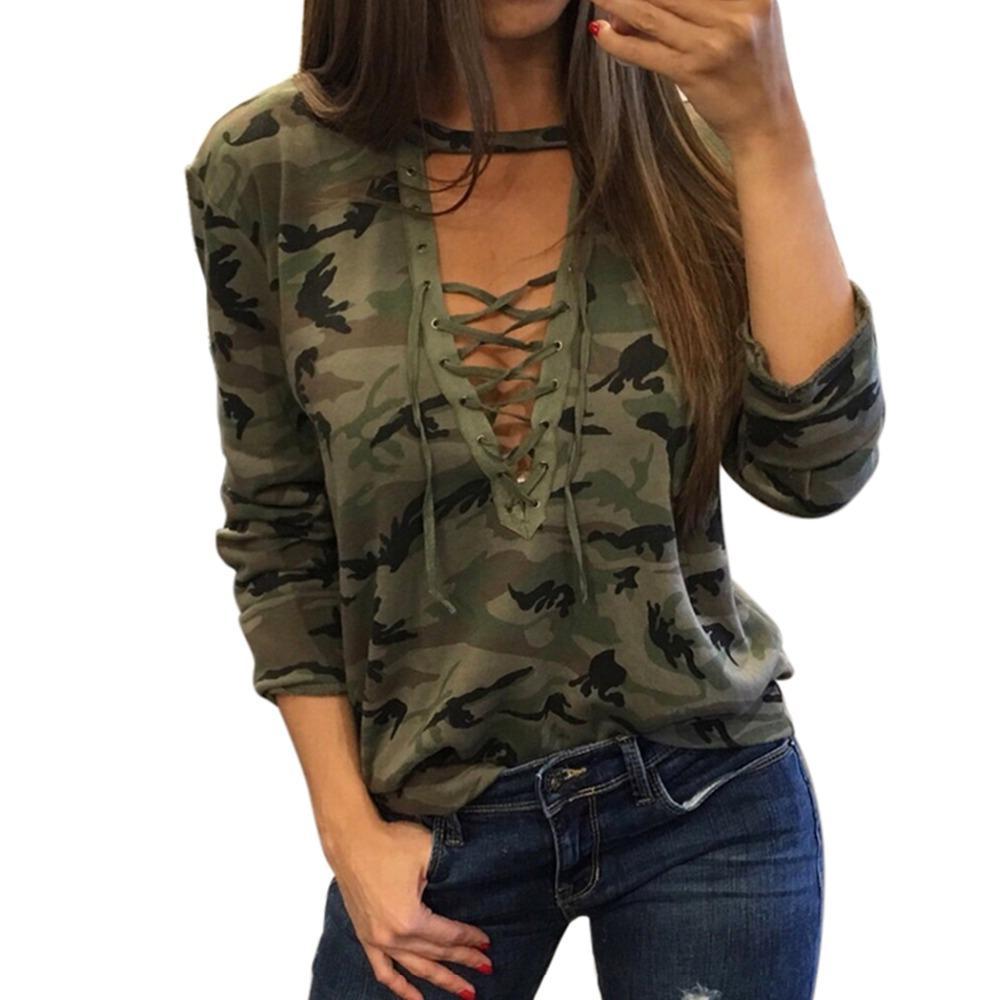 ELSVIOS Mulheres Sexy T-shirt 2017 Moda Verão Encabeça Solto Bandage V Neck T Shirt Das Senhoras Camuflagem Causal Manga Longa Tee Tshirt