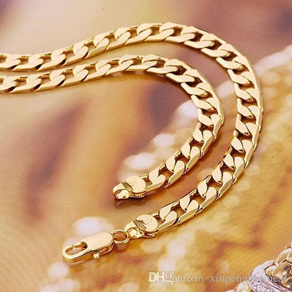 Fine Splendid Männer und Frauen 24k Real Yellow Solid Gold GF Halskette feste Kette 24inch Champion 5 aufeinander folgenden Jahren Sales Champion Juwel