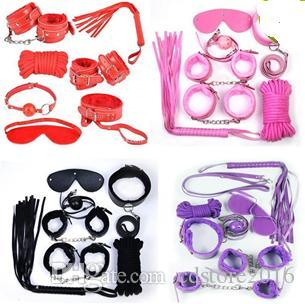 adult toy Bondages 7Pcs/set Bondage Kit Set Fetish BDSM Roleplay Handcuffs Whip Rope Blindfold Ball Gag Black/Red/Pink/Purple Slave Bondage