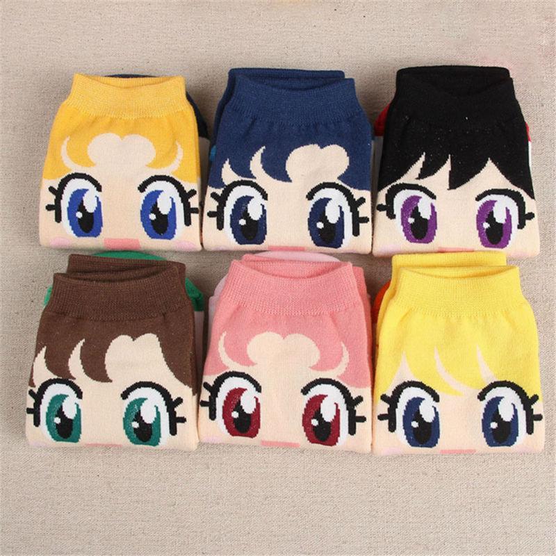 Wholesale-Anime Cartoon Sock Sailor Moon Month Female Cute Socks Harajuku Cotton Kiss Woman Sokken Ankle Meias Sox