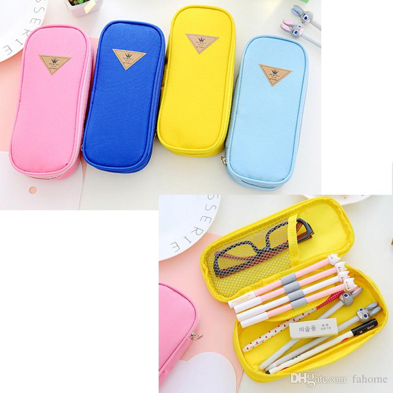 Pen Box Pouch Bags, School Canvas Pencil Case, Cute Candy Color Stationery Large Cute Cheap Art Stationery
