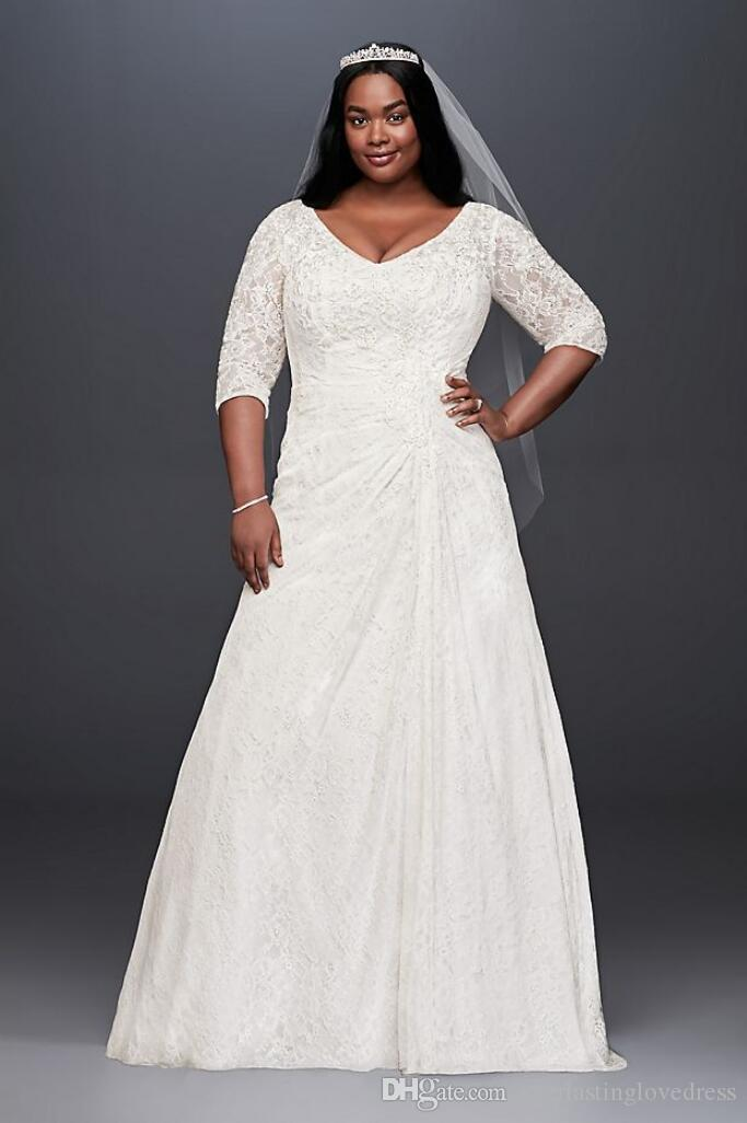 Discount Draped Lace A Line Plus Size Wedding Dress With V Neck Low Back  Sleeves Bridal Gown Wedding Dresses 9WG3896 Wedding Dress Buy Online  Wedding ...