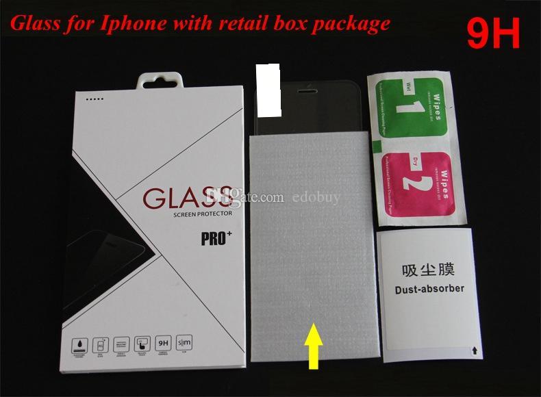 9 h 0.26mm protetor de tela de vidro temperado para apple iphone4 5 6 6 plus 7 7 plus com pacote de caixa de varejo