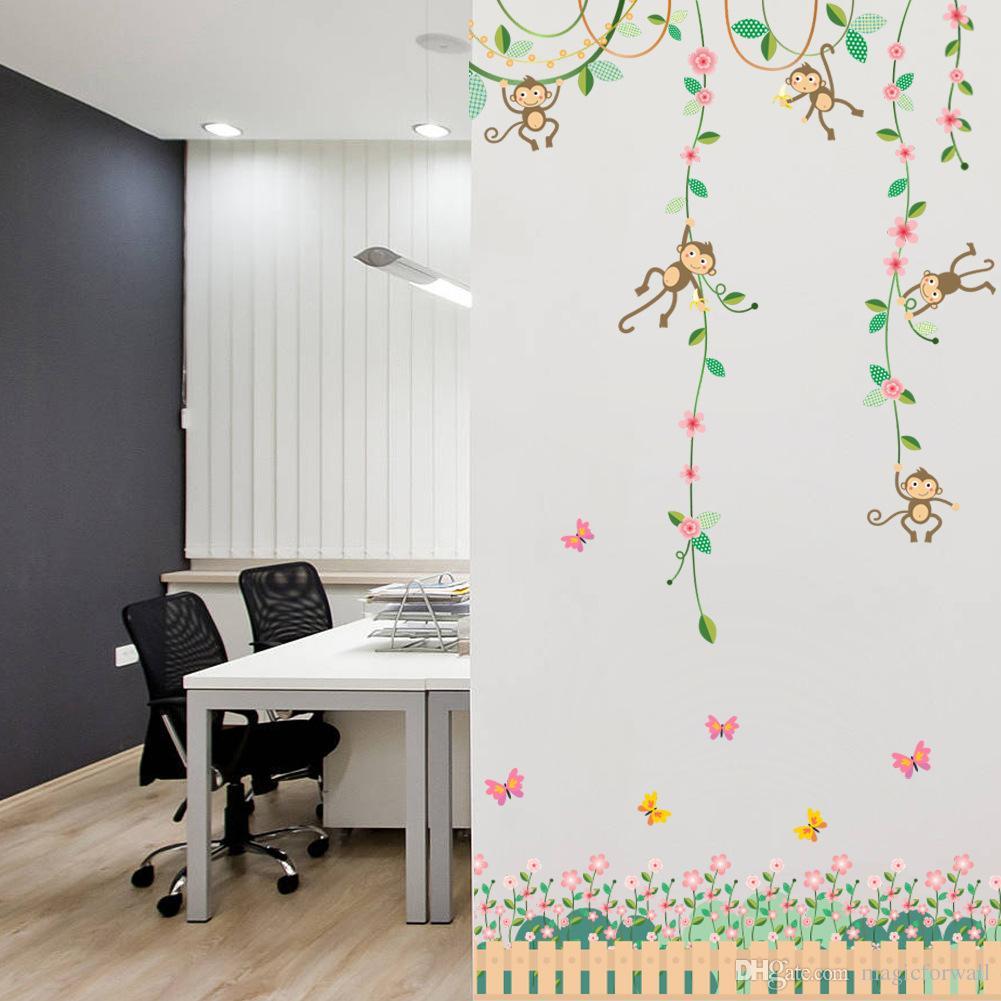 Cartoon Monkey Climbing Flower Vine Wall Decals Kids Room Nursery - Nursery wall decals boy