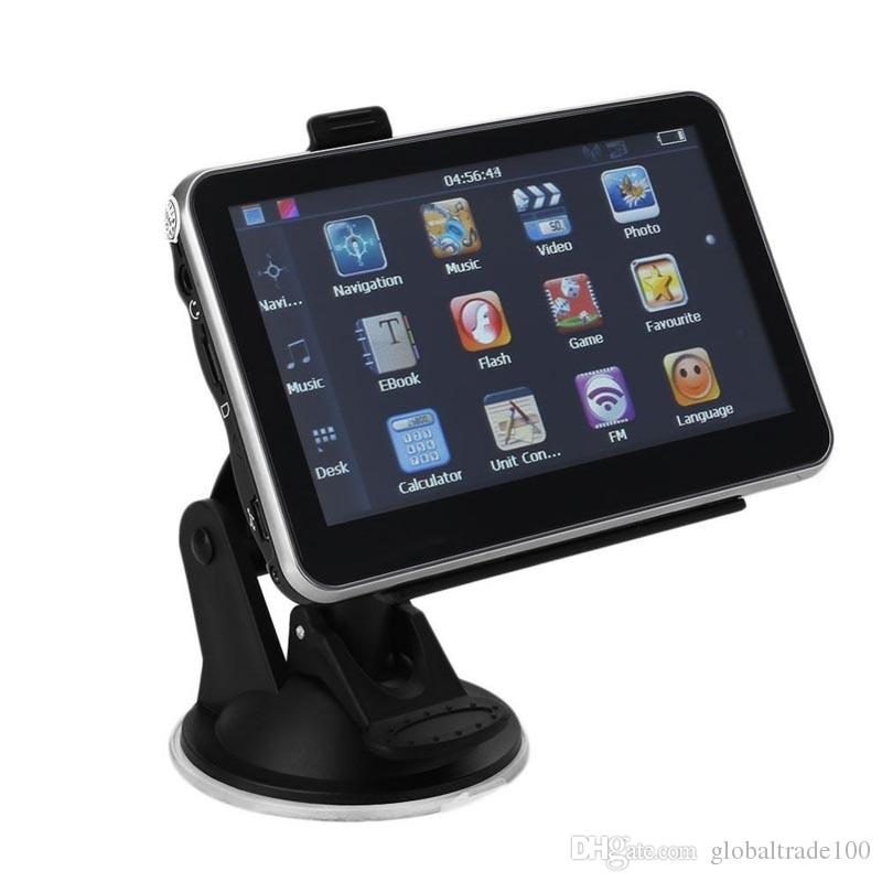 5 polegada de Navegação GPS Do Carro Bluetooth AV no Navegador 128 M / 256 MB 4 GB / 8 GB Sistema HD Universal Últimas Mapas Transmissor FM