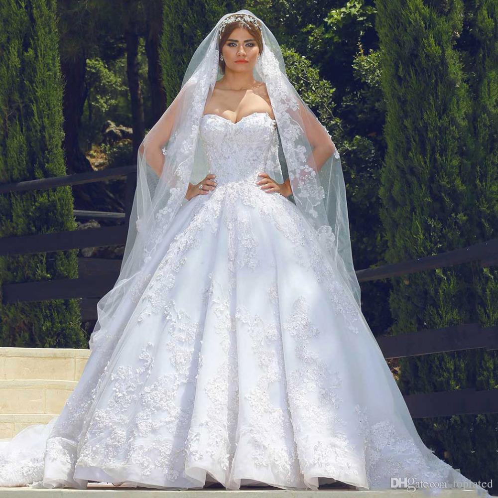 Lebanon Luxury Wedding Dresses Sweetheart 3D-Floral Appliques Beaded ...