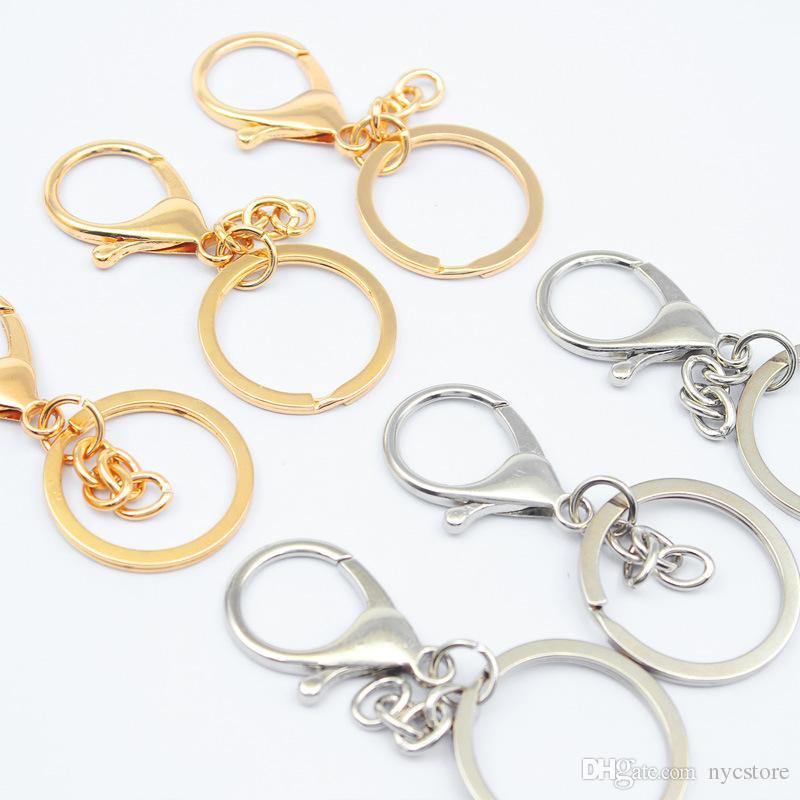 8 стили Оптовая металл Сплит брелок кольцо части D форма брелки открытый прыжок кольцо и разъем DIY брелок аксессуары