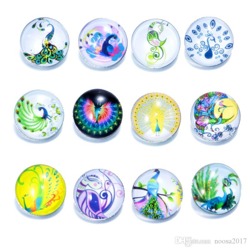 Wholesale New 18mm Ginger Snaps Button Glass Crystal Button Peacock Pattern Fit Charm Bracelets DIY Jewelry noosa chunks