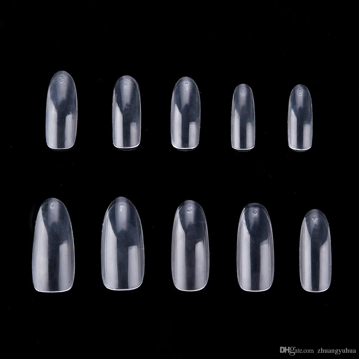 Ship From Usa 500 Oval False Nails Fullwell Clear Full Cover Nail ...