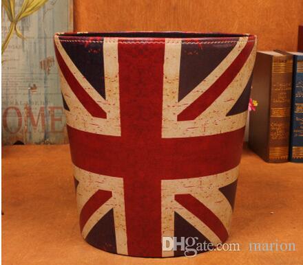 2pcs PU Leather Waste Storage Paper Dust Rubbish Bins Basket Bedroom Coffee