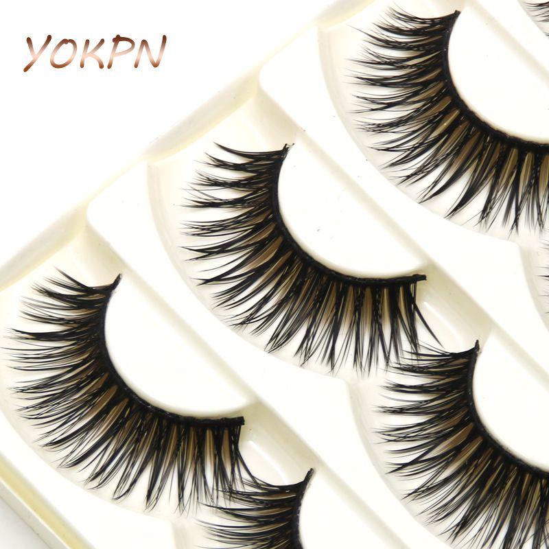 Hot YOKPN übertrieben Falsche Wimpern unordentlich dick braun schwarz kreuz und quer gefälschte Wimpern Latin Show Makeup Wimpern