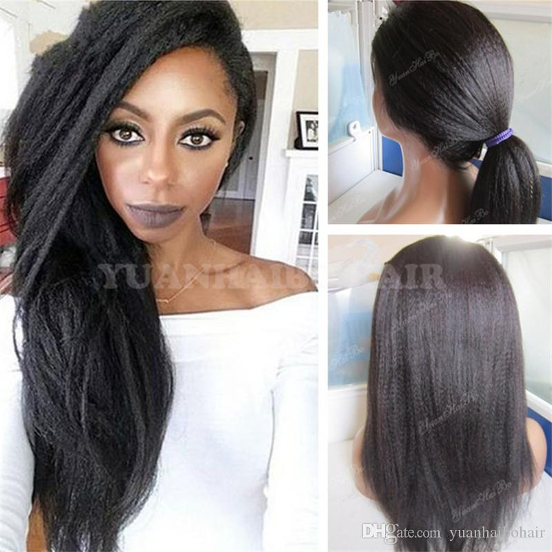 Celebrity Wigs Full Lace Wig Natural Color Kinky Straight Virgin Brazilian Hair High Ponytail Lace Front Human Hair Wigs Free Shipping