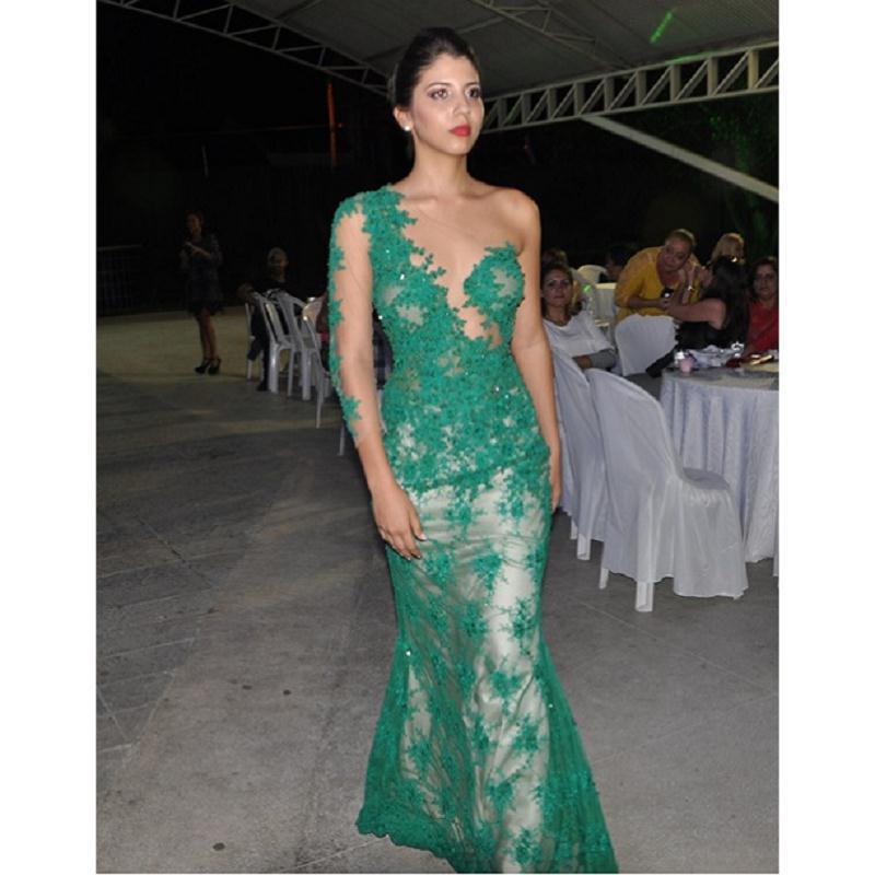 Pizzo verde una spalla madre della sposa abiti con manica guaina 2017 abiti da sera del partito per le donne vestido para mãe da noiva