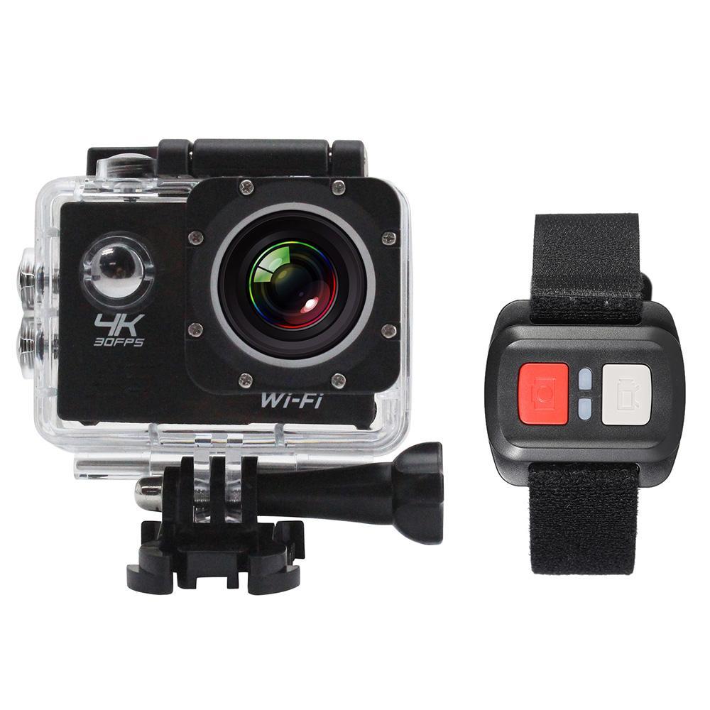 4K كاميرا 2 شاشة LCD كاميرا واي فاي عمل الكاميرا 4X تكبير 16MP الرياضة للماء 30M مع جهاز التحكم عن بعد