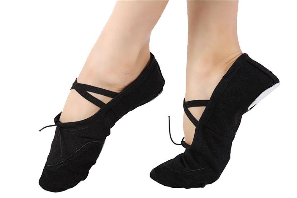 Femmes Toile Ballet Pantoufles Split-semelle Danse Du Ventre Pratique Danse Plat Cordons Élastiques Gymnastique Yoga Chaussures En Gros Prix