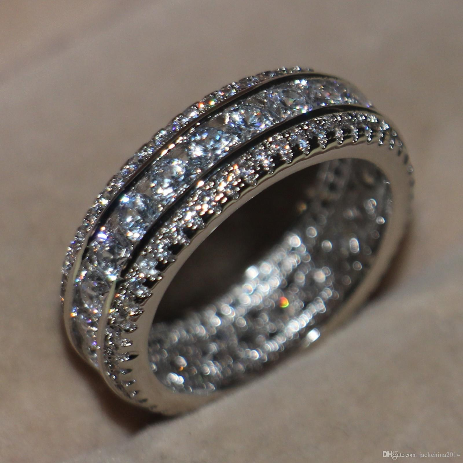 Atemberaubende 2016 Neue Ankunft Luxus Jewelly Rundschnitt 925 Sterling Silber Simulierte Diamant Gemstons Pflastern Frauen Engagement Kreis Ring Size5-11