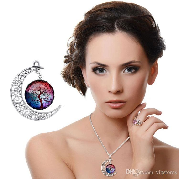 Mix styles Vintage hollow necklace for women Moon gemstone life tree pendant necklaces Sliver Plated Necklace Hot Handmade necklace