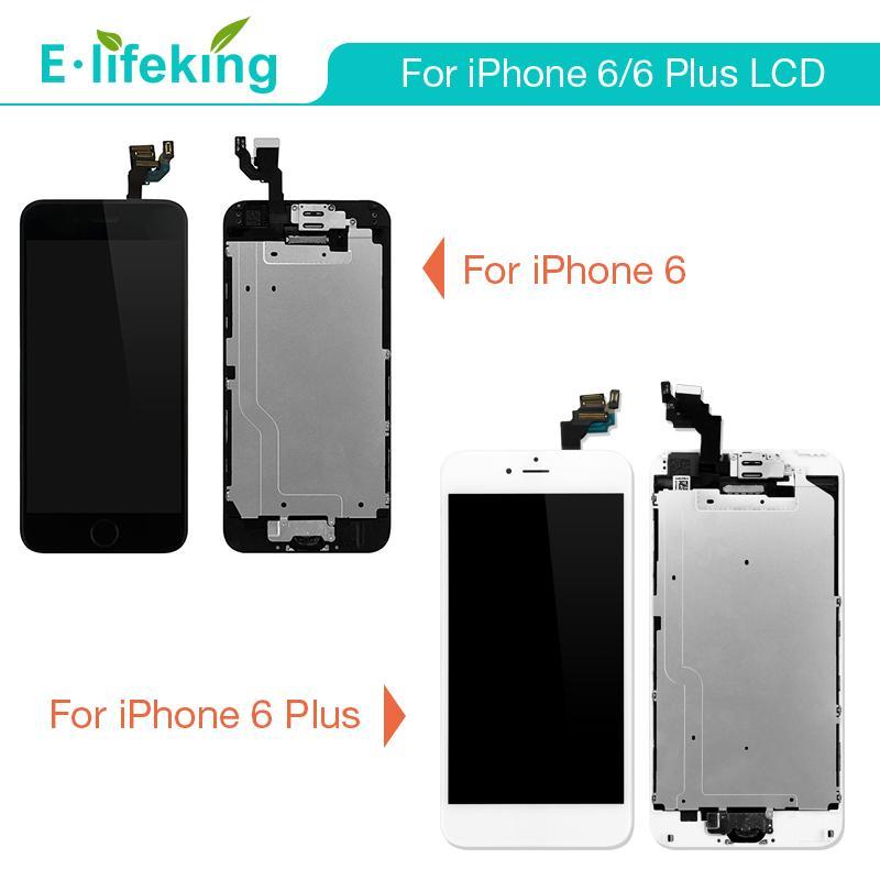 iphone 6 Lcd için ve ev düğmesi kamera ile bBlack beyaz ile Montaj iPhone 6plus Lcd Sayısallaştırıcı Displaiy Ekran için mükemmel Kalite
