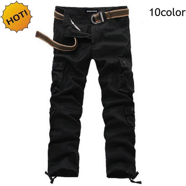 Hot Spring autunno Baggy diritta Army Multi-Tasca Khaki tattico Solid pantaloni larghi Cargo Uomo Tuta Pantaloni Plus Size 29-44