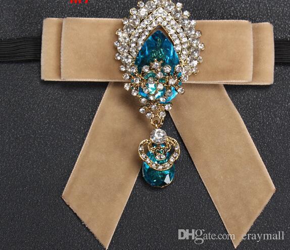 New Luxurious big diamond pendant groom wedding velvet set auger tie fashionable dress nightclub MC neckties Simple fashion