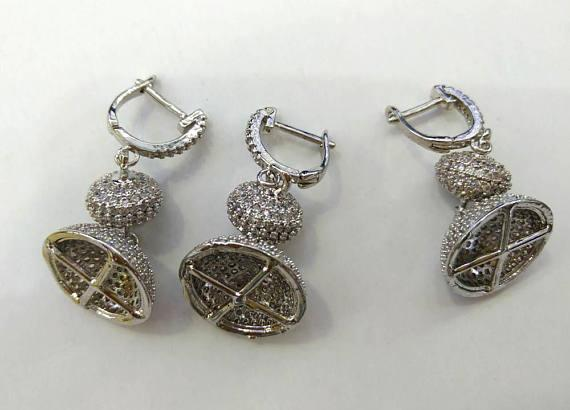 2sets Micro Pave Diamond 15x40 Micro Pave Cubic Zirconia, Jewelry Clasp & Hook CZ Micro PavePanther Head caps
