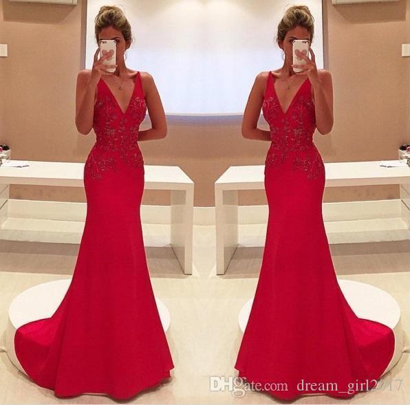 2017 elegantes vestidos de noche de la sirena roja Sexy apliques en V cuello fiesta larga vestidos de baile Celerity desgaste formal vestidos de recepción nupcial