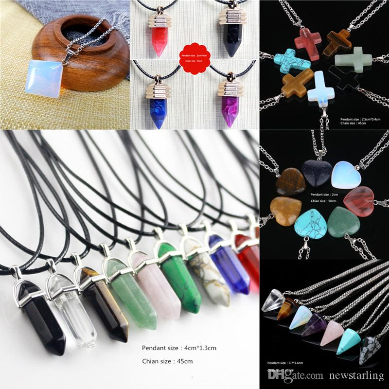 10 pcs Hexagon Prism Natural Stone Pendant Necklaces Point Chakra Healing Cross Heart Crystal Stainless Steel Leather Christian Jewelry