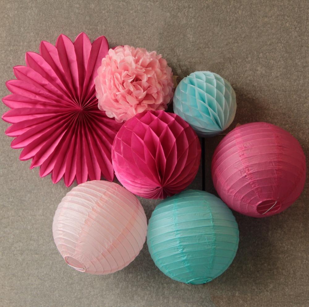 7 pcs (rosa, fúcsia, azul) decoração do partido conjunto de papel pendurado fã, lanternas de papel, bola de favo de mel, papel de tecido pom pom decoração do casamento