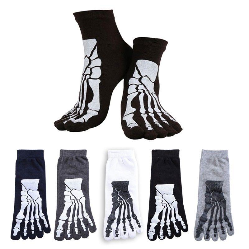 Yeni Toptan-5 Renkler Punk Rock erkek 3D Baskı Terör İskelet Ayak Çorap Hip Hop Korkunç Kafatası Beş Parmak Garip Sox Kemik Erkek spor