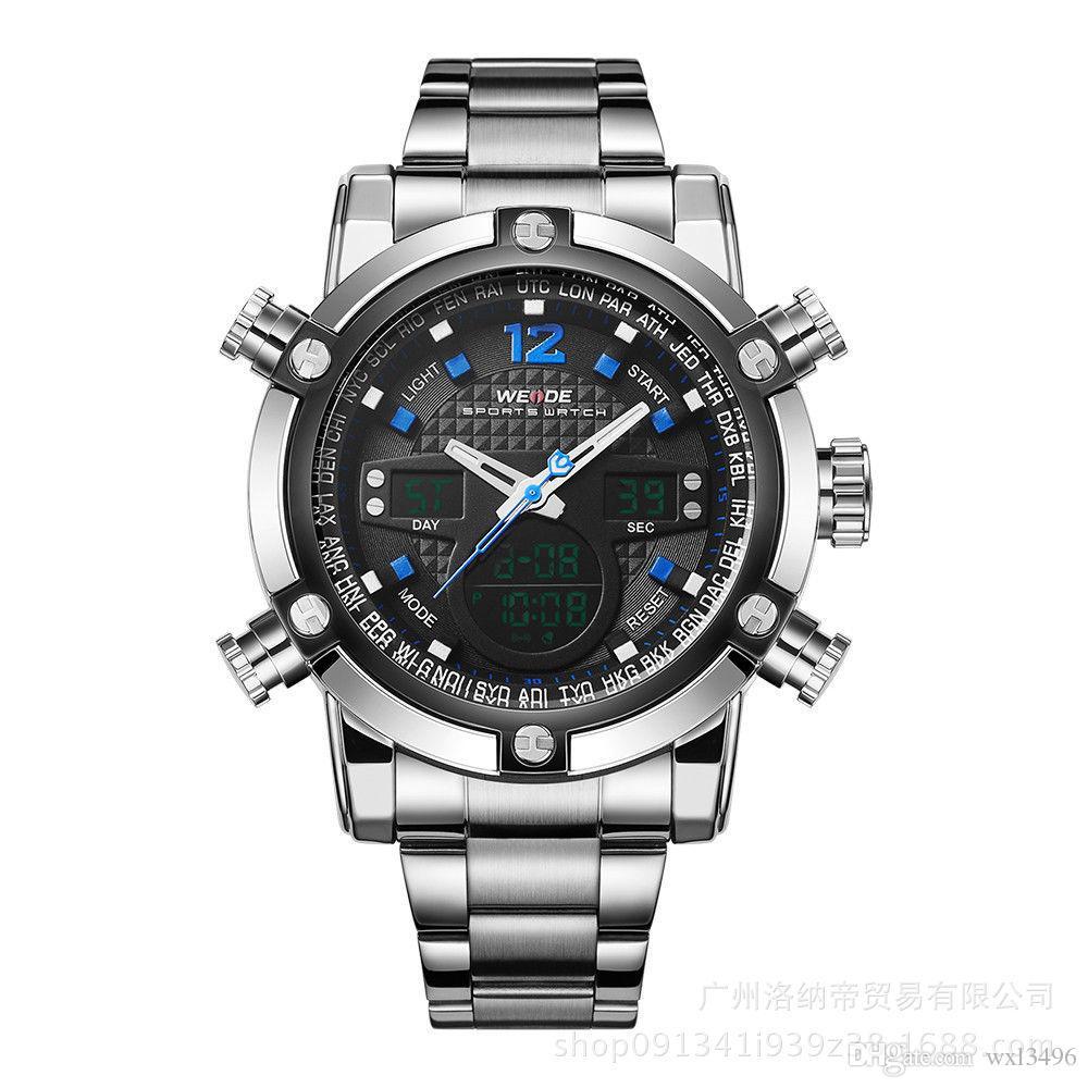Watches Men Luxury WEIDE Sports Full Steel Watch Men's Digital Quartz Clock Man Army Military Wristwatch relogio masculino