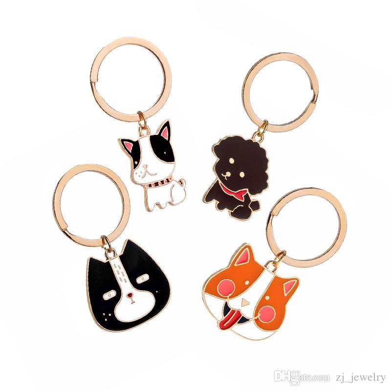 Enamel Dog Breed French Bulldog Corgi Keychain Pet Dog Clip Charms Keyring Key Holder for Men Women Girls
