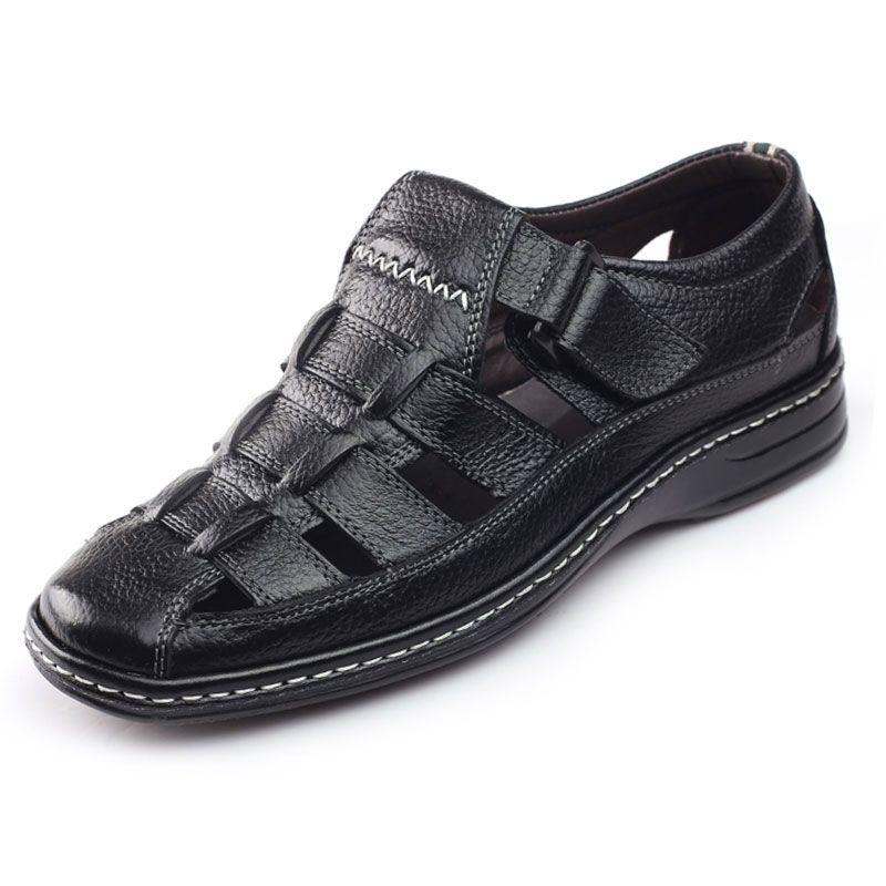 Wholesale-Full Grain Leather Men Sandals Black Brown Hand Sewing Mens Summer Shoes Breathable Beach Shoes Summer Men Shoes New Design H663