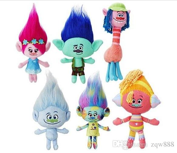 Novas 6pcs / Lot 23-30cm DreamWorks filme Trolls Plush Toy Boneca Poppy Cooper DJ Suki Harper Guy Diamante Filial Stuffed Dolls SQ