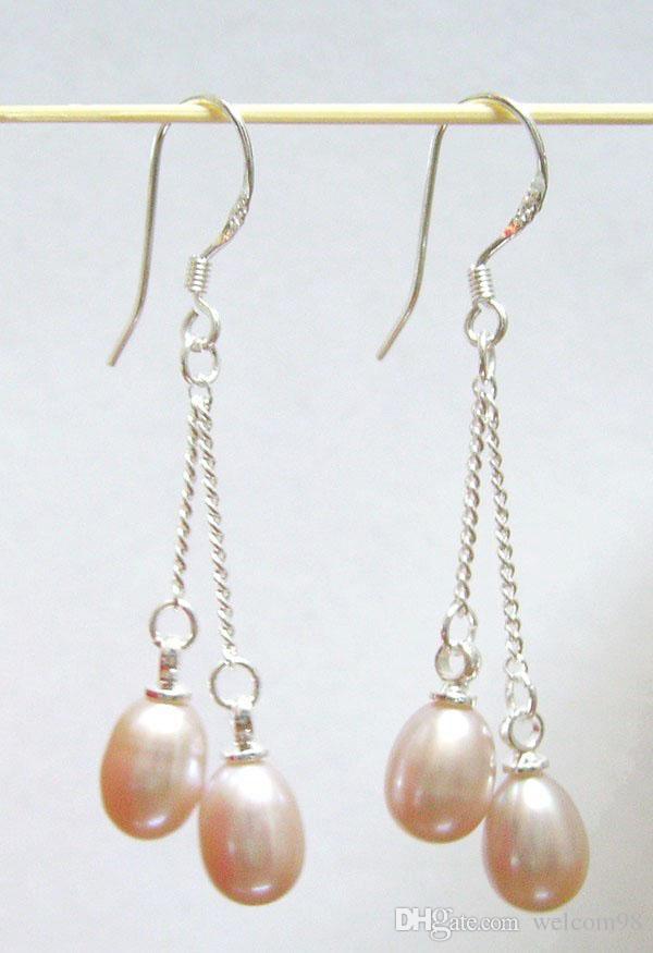 Gancio d'argento degli orecchini della perla dei gioielli di modo dei 10Pairs / lot per i monili porpora C002 del mestiere del regalo Trasporto libero