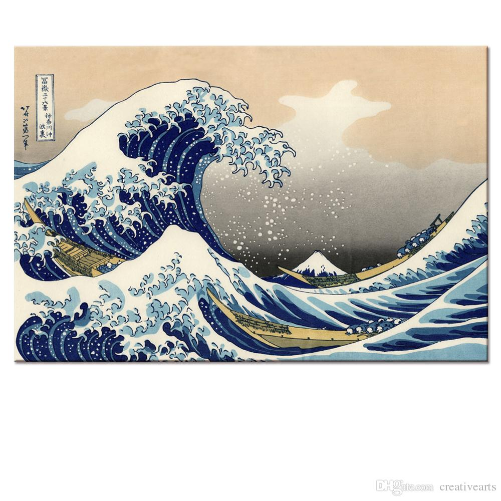 Japanese Yamato-e Painting Canvas Prints Wave of Kanagawa Decorative Canvas Printed Artwork
