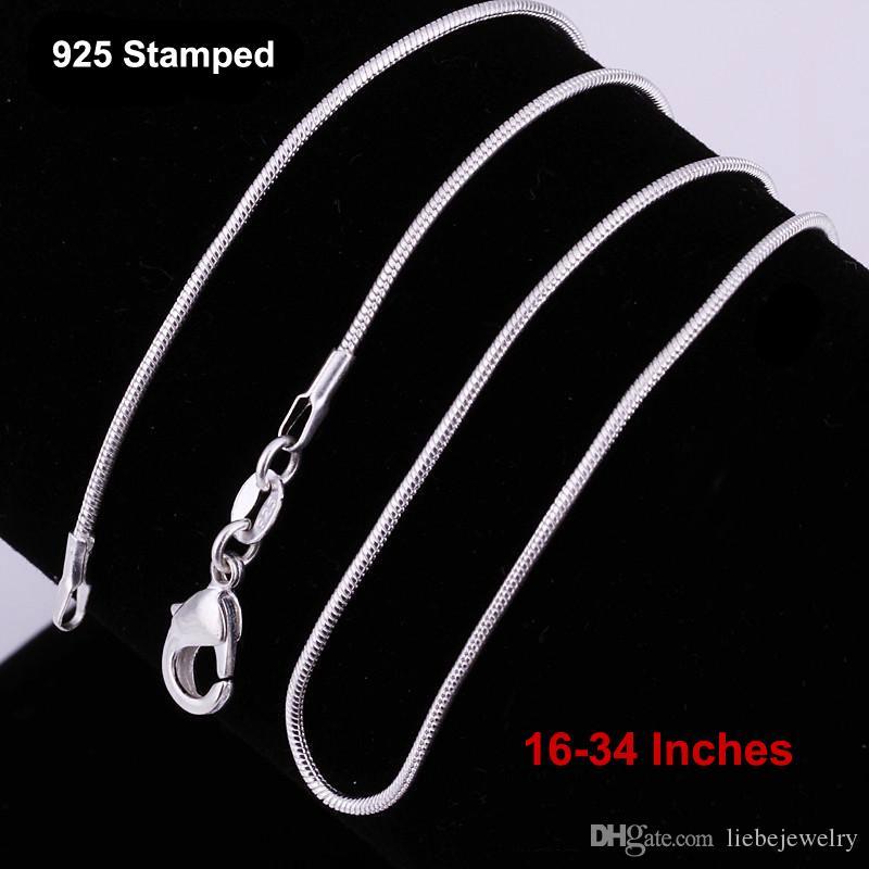 الجملة 16-34 بوصة 12 قطع سلاسل ثعبان قلادة 1.2 ملليمتر 925 الفضة الاسترليني النتائج diy المجوهرات