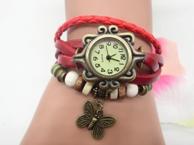 Großverkauf 200pcs / lot mischen 7Colors Kuh-Lederfrauen Uhr-Lederblatt Schmetterlings-Uhren LP011