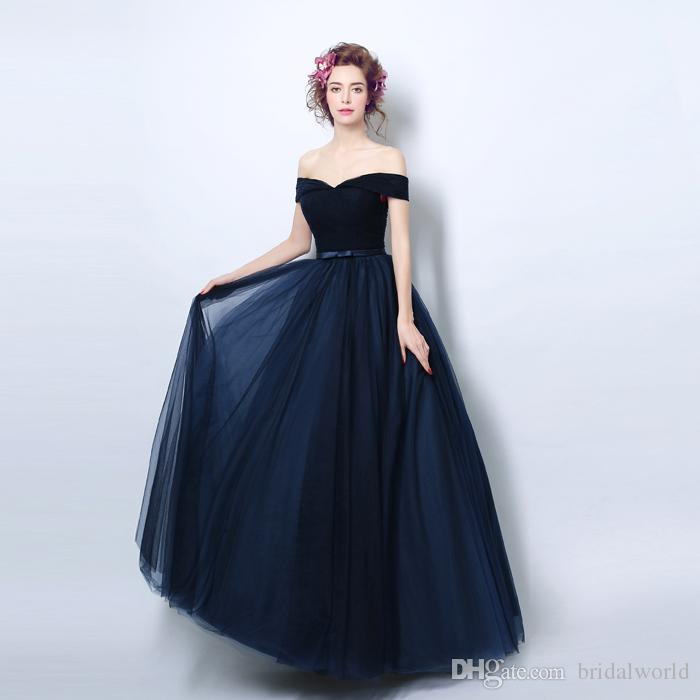 100% réel Image robes de soirée bleu marine robes de soirée avec un arc hors de l'épaule parti femmes robe de bal de haute qualité