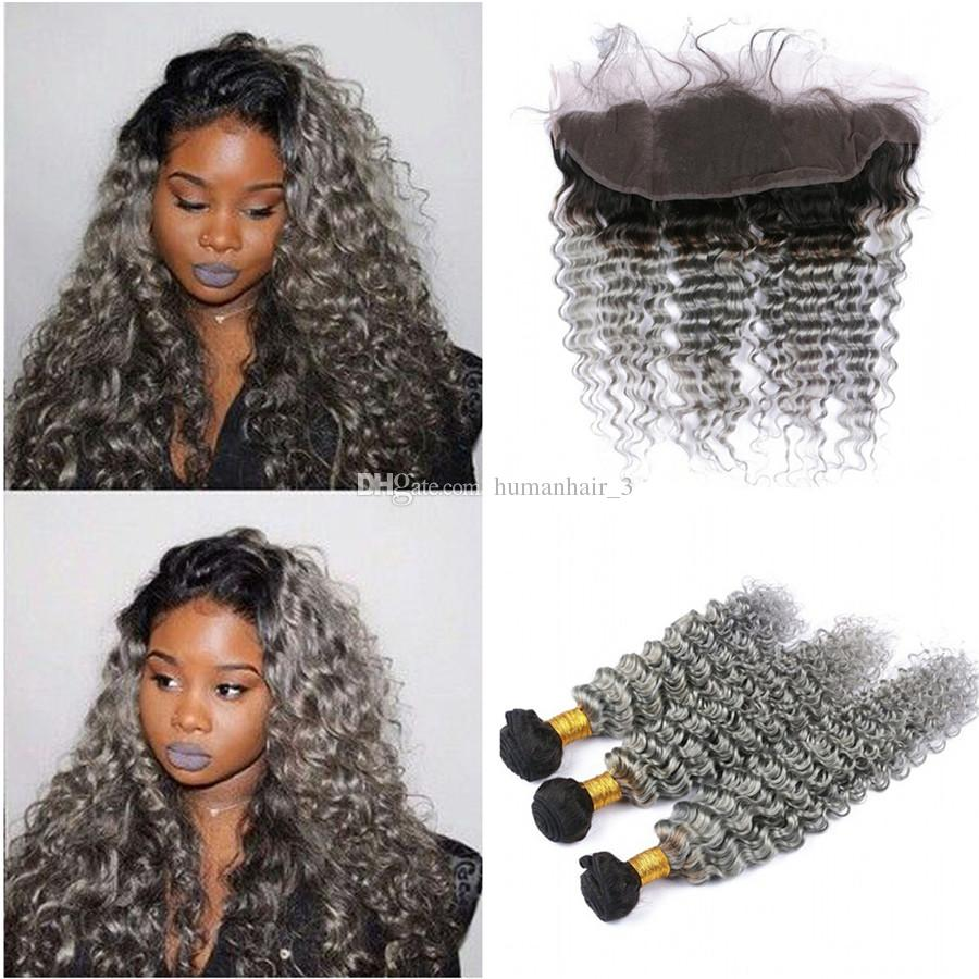 Sliver Grey Human Hair Deep Wave With Ear To Ear Lace Frontal 1b Gray Dark Root Ombre Peruvian Virgin Hair With Lace Frontal