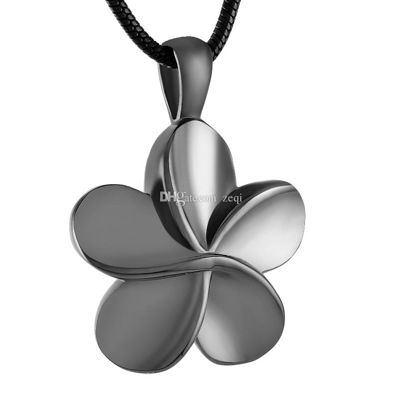 IJD8026 Flower 316l Stainless Steel Cremation Pendant Necklace Ashes Keepsake Urn Stash Memory Necklace